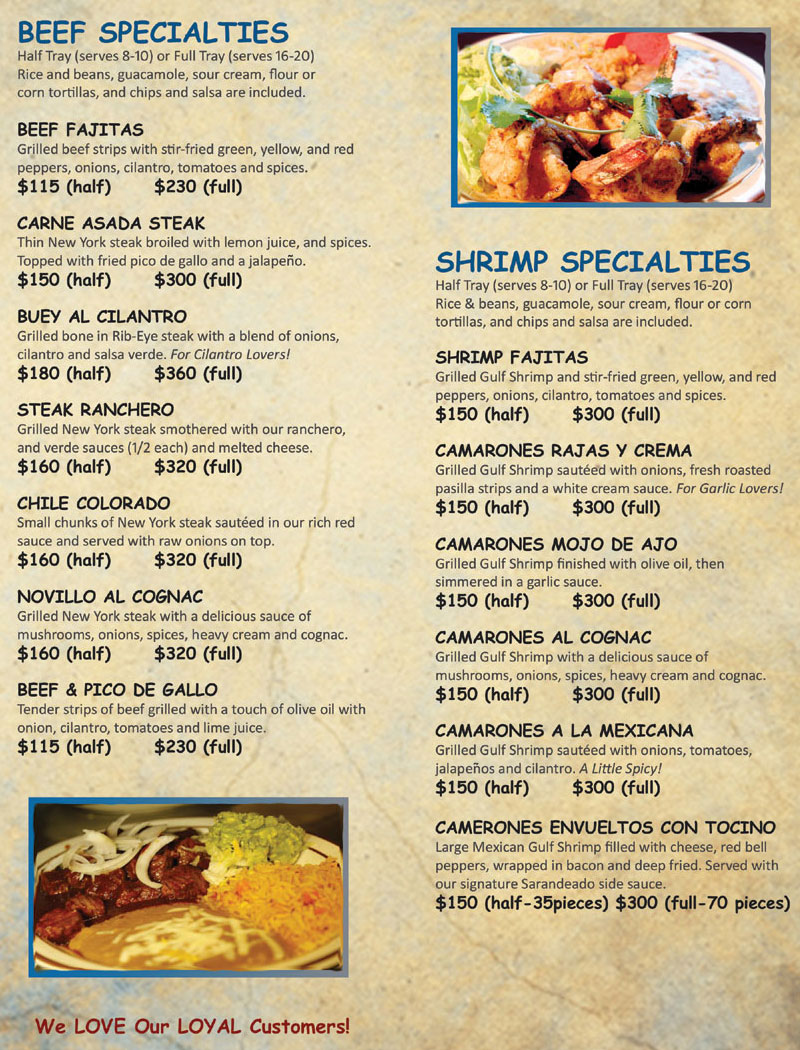 Catering Menu for Michoacan Mexican Restaurant. Beef and Shrimp Specialties.