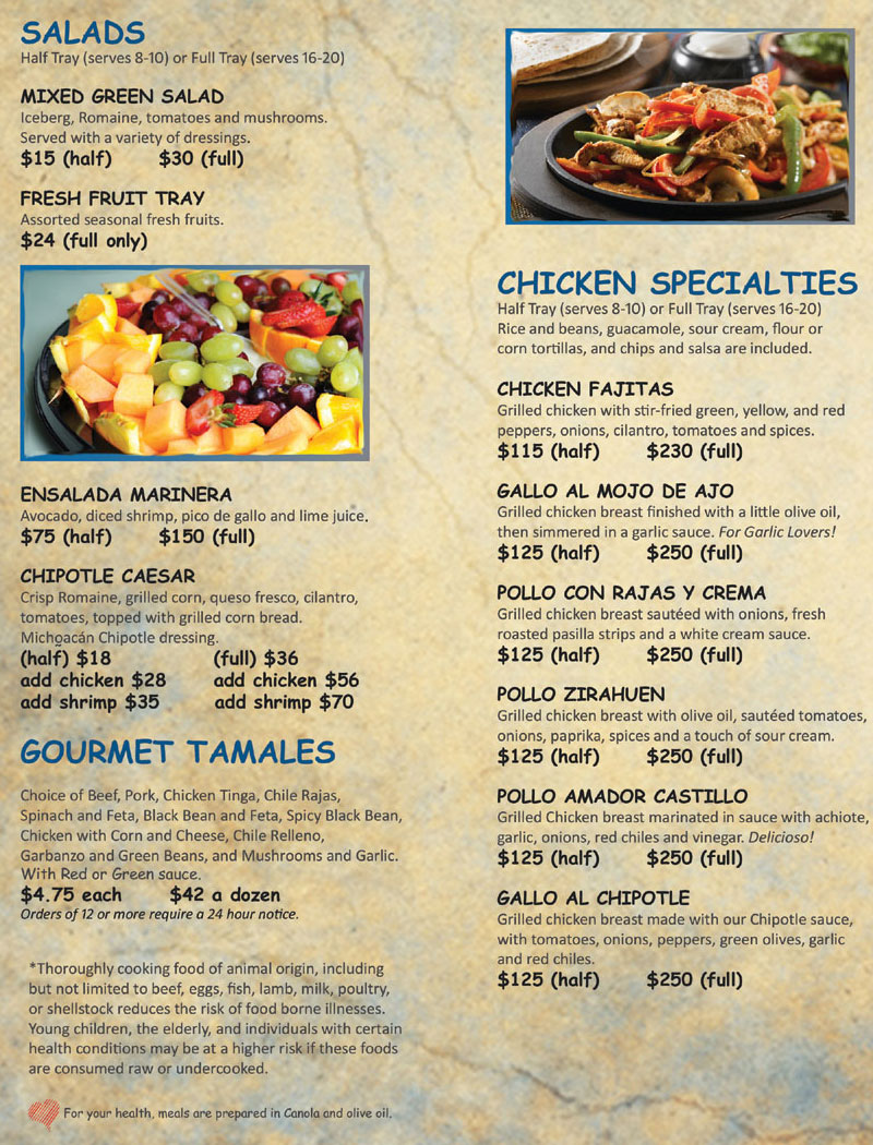 Catering Menu Michoacan Mexican Restaurant. Salads, Tamales and Chicken Specialties.