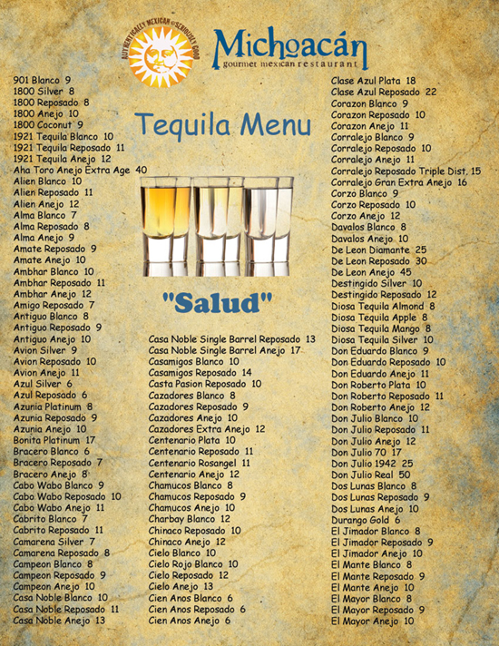 The Best Tequila selection in Las Vegas is at Michoacan Mexican Restaurant! We have 279 different Tequilas!